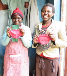 The sewing class also made feminine kits for local women.